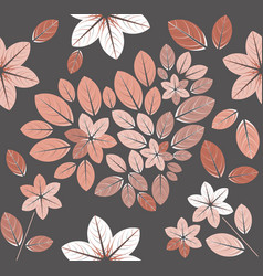 autumn pattern with flowers and heart vector image vector image