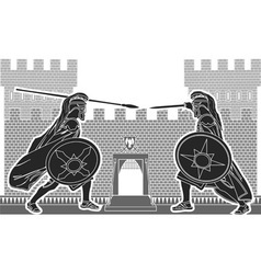 fight of two knights vector image