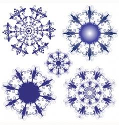 set violet snowflakes vector image