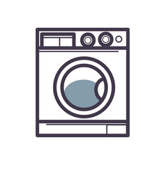 Washing machine front view close-up isolated on vector