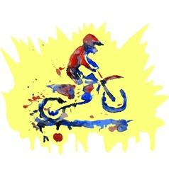Watercolor motocross rider vector image vector image