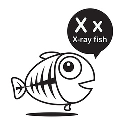 X X ray fish cartoon and alphabet for children to vector image