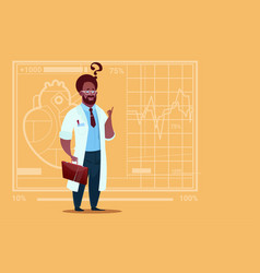 african american doctor confused thinking medical vector image