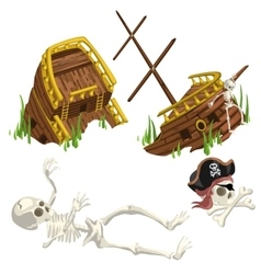 Ancient ruined ship and skeleton pirate vector image