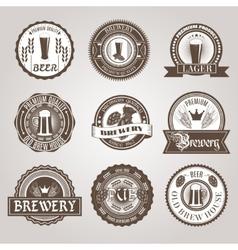 Beer labels set black vector image