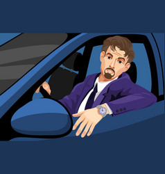 businessman driving car vector image