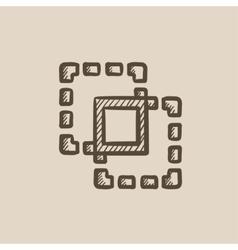Crop sketch icon vector