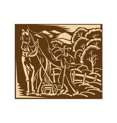 Farmer Farming Plowing With Farm Horse Retro vector image vector image