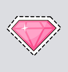 pink diamond cut it out luxurious accessory vector image