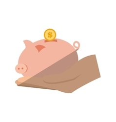 hand holding piggy coins money save flat icon vector image vector image