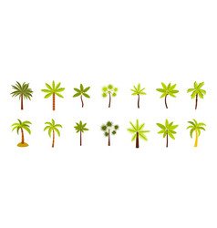 palm tree icon set flat style vector image vector image
