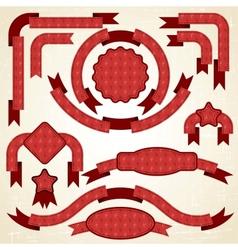 Retro Christmas Ribbons Labels vector image