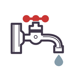 water dripping tap with water drop flat design vector image vector image