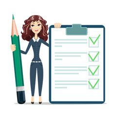 woman with a questionary and big green pencil vector image