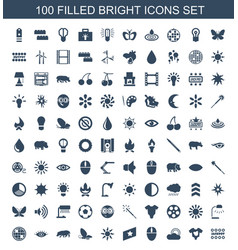 100 bright icons vector
