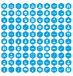 100 smuggling icons set blue vector