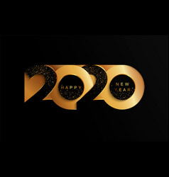 2020 new year golden paper cut banner vector image