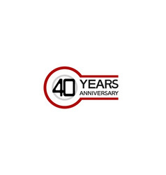 40 years anniversary with circle outline red vector