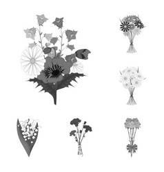 A bouquet of fresh flowers monochrome icons in set vector