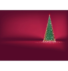 Abstract green christmas tree on red EPS 10 vector image