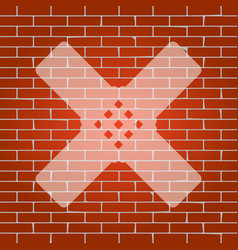 Aid sticker sign whitish icon on brick vector