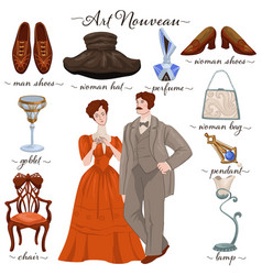 Art nouveau couple and old fashion past years vector