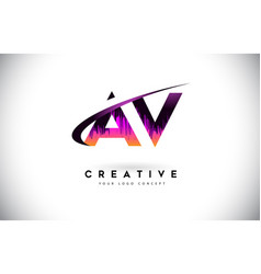 Av a v grunge letter logo with purple vibrant vector