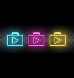 Bag play store neon icon vector