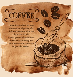 Bag with coffee beans on a watercolor background vector