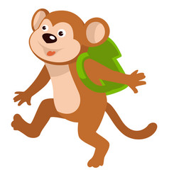Bamonkey carrying satchel on shoulders walking vector