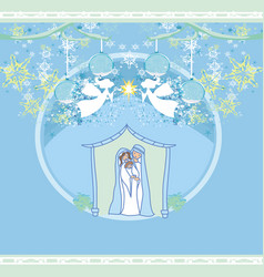 Birth jesus in bethlehem in a glass bubble vector