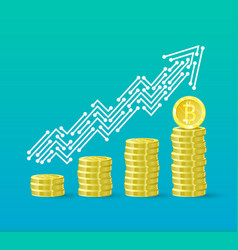 bitcoin crypto currency growth chart the vector image