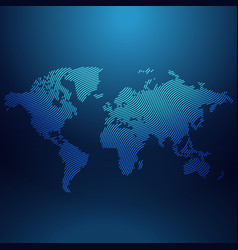 blue world map in wavy style vector image