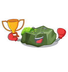 Boxing winner green rock moss isolated on cartoon vector