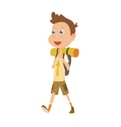 Boy scout camping outfit summer camp activities vector