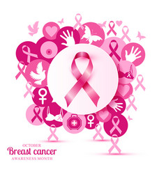 Breast cancer of pink icons with vector