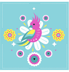 Bright seamless print with cute parrot and vector