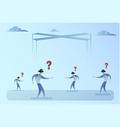 Business man group blind forded walking vector