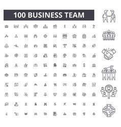 business team editable line icons 100 set vector image