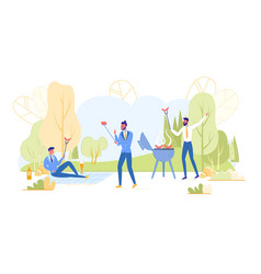 Businessmen having bbq party relaxation outdoors vector