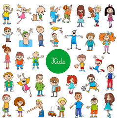 cartoon kids characters large set vector image
