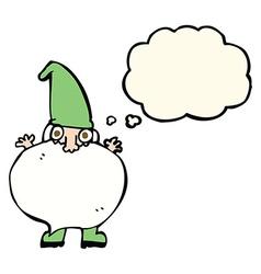 Cartoon tiny santa with thought bubble vector