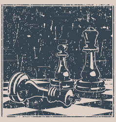 chess game concept and strategy old poster vector image