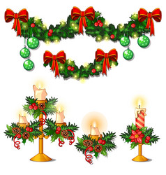 christmas sketch with decorations of twigs of vector image