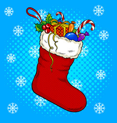 christmas stocking pop art vector image