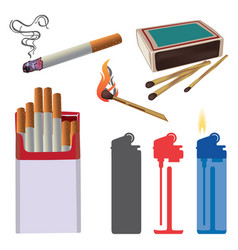 cigarettes matches and lighters vector image