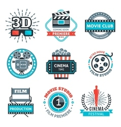 Cinema Colorful Emblems vector image