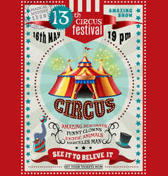 Circus festival announcement retro poster vector