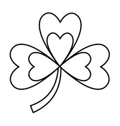 Clover three leaves luck symbol outline vector