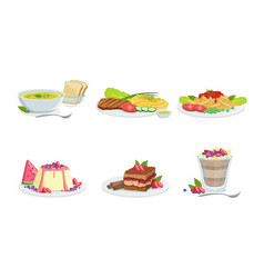 collection different food set delicious served vector image